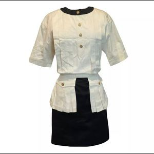 Vintage CHANEL 1980's Pleated Top Skirt Dress